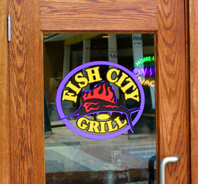 Fish City Grill on Window Graphics Install For Fish City Grill